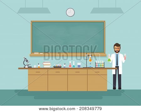Science teacher scientist professor standing with chalkboard teaching student in laboratory classroom at school college or university. Vector illustration of flat design people characters.