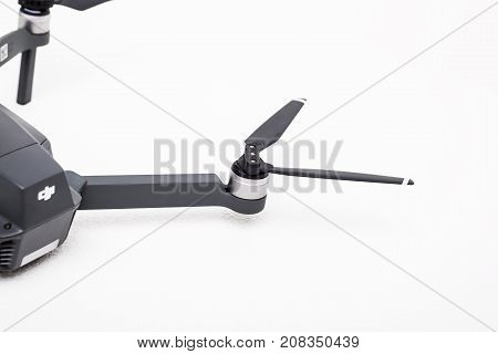 DJI Mavic Pro drone: ISRAEL, OCTOBER 2, 2017. Closeup, on white background. One of the most portable drones in the market