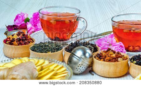 tea, Cup of tea, various kinds of tea, on the table, with jasmine, fruit tea