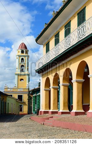 Tower of the San Francisco de Asis Church being by the main square in Trinidad the most tourist city on Cuba.