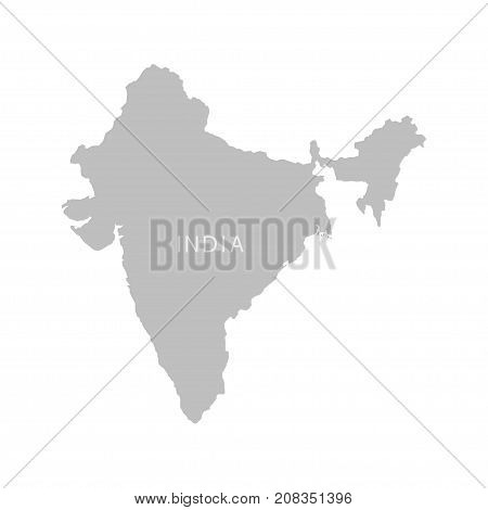 Territory of India on a white background. Vector illustration.