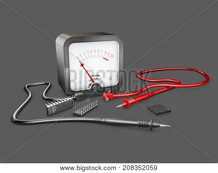 3D Illustration Of Electrician Multimeter Tester And Chips, Isolated On Gray