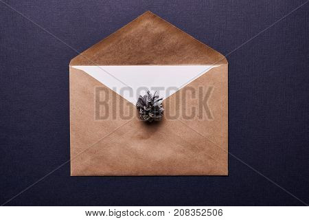 decoration for christmas. browm envelope and pine cone painted in silver over blue background
