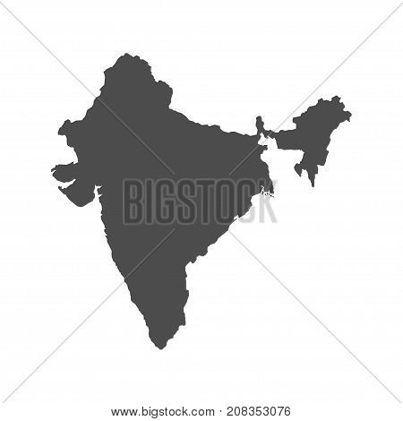 Territory of India. Grey background. Vector Illustration