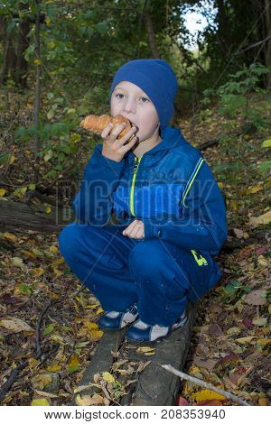 Croissants eat sitting in the autumn in the first-graders