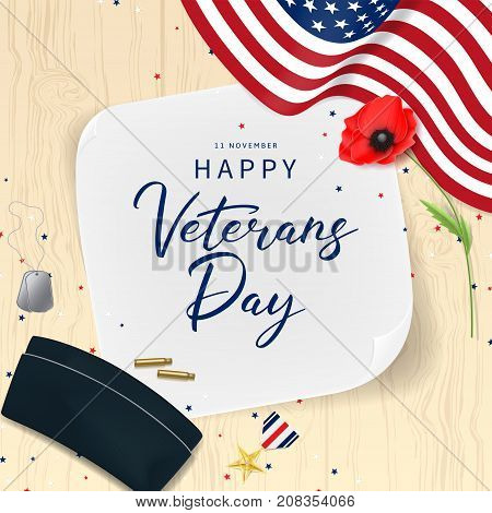 Veterans Day Greeting Card. Top View of Medal, Soldier Tag and Cap on wooden texture. Holiday Backdrop with USA Flag and Red Poppy. Vector Illustration with Confetti.