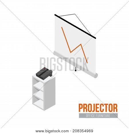 Isometric projector with screen. Vector office furniture and equipment
