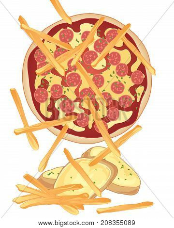 an illustration of a pepperoni pizza with garlic bread and french fries on a white background
