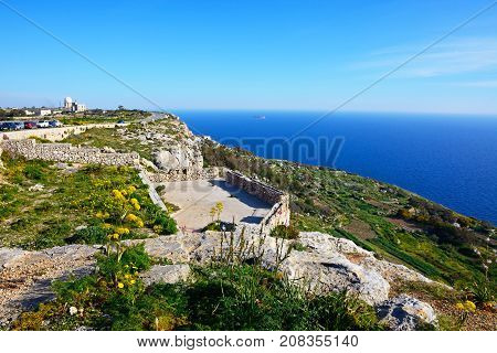 DINGLI, MALTA - APRIL 1, 2017 - View along the coast towards Dingli Aviation radar station Dingli Malta Europe, April 1, 2017.