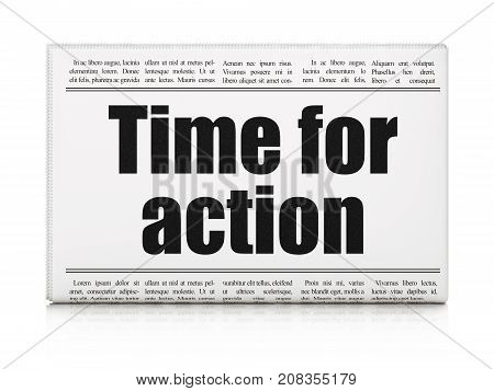 Timeline concept: newspaper headline Time For Action on White background, 3D rendering