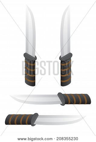 Isometric knife. Vector table or hunting knife illustration