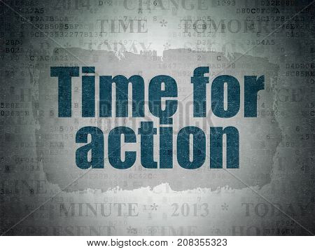 Time concept: Painted blue text Time for Action on Digital Data Paper background with   Tag Cloud