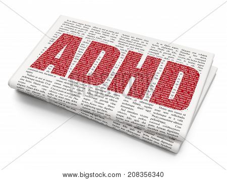 Health concept: Pixelated red text ADHD on Newspaper background, 3D rendering