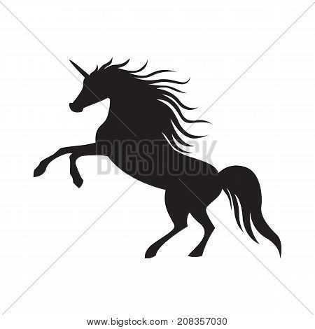 Vector silhouette unicorn image collection. Element for design. Black cute silhouette unicorn. Fairy magic element, isolated vector object, flat design illustration. Beautiful horse with horn