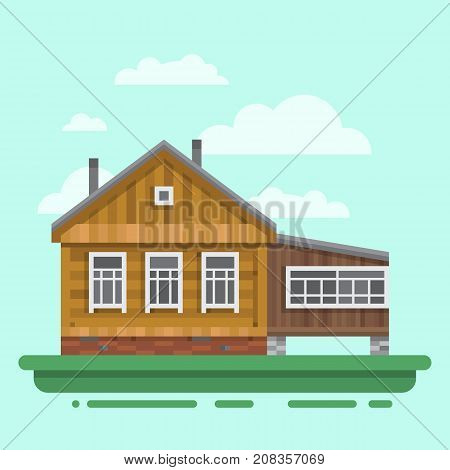 Country old brawn house. Colorful village russian old house. Countryside colored wood house. Cute outback hut with decoration, grass. Vector illustration art with blockhouse.
