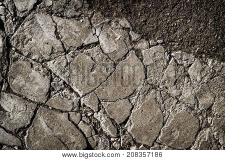 Old cracked concrete. Concrete covering. Concrete background. Background and texture