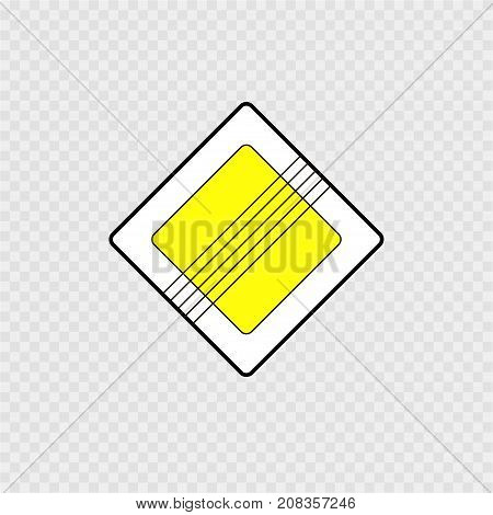 Road sign on a grey background. Vector illustration.