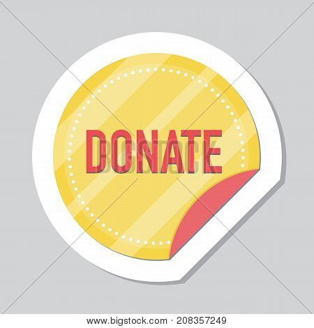 Donate button, sticker with gold coin. Help gold and red icon donation. Gift charity. Isolated support design sign. Contribute, contribution, give money, giving symbol. Vector illustration