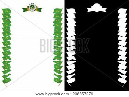 Frame And Border With Flag And Coat Of Arms Mauritania. 3D Illustration