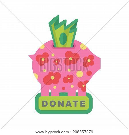 Donate button with piggy bank and green bank notes. Help colored icon donation. Gift charity. Isolated support design sign. Contribute, contribution, give money, giving symbol. Vector illustration