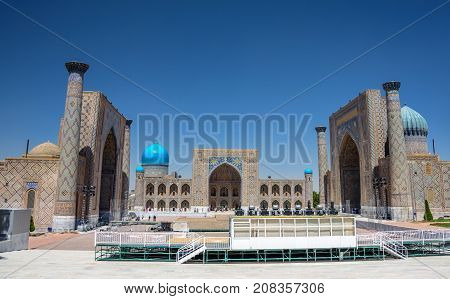 Registan Square, monument of medieval architecture with three madrasahs - the Ulugh Beg, the Tilya-Kori and the Sher-Dor Madrasahs, the heart of the ancient city of Samarkand, Uzbekistan