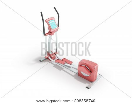 Pristine Elliptical Trainer Home Pink 3D Rendering On White Background