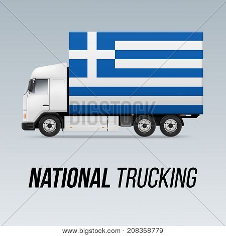 Symbol of National Delivery Truck with Flag of Greece. National Trucking Icon and Greek flag