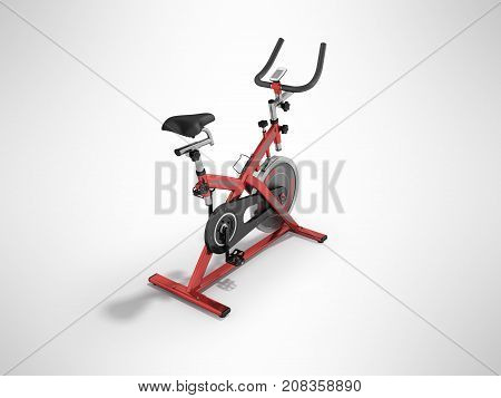 Modern Exercise Bike Red Perspective 3D Render On Gray Background