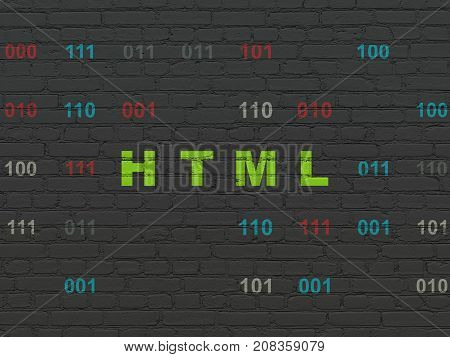 Software concept: Painted green text Html on Black Brick wall background with Binary Code