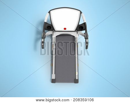 Modern Sports Treadmill On Top Gray With Black Metal 3D Render On Blue Background