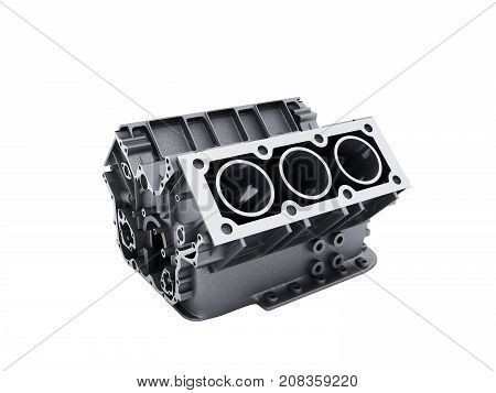 Cylinder Block From Car With V6 Engine 3D Render On A White No Shadow