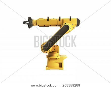 Industrial Robot On White Background No Shadow 3D Rendering