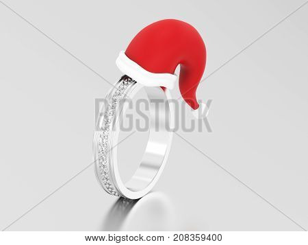 3D illustration white gold or silver engagement wedding band diamond ring in the Christmas Santa Claus hat on a grey background