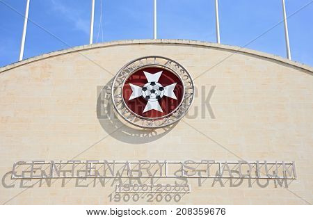 ATTARD, MALTA - APRIL 1, 2017 - Front view of the Centenary Stadium name and emblem Attard Malta Europe, April 1, 2017.