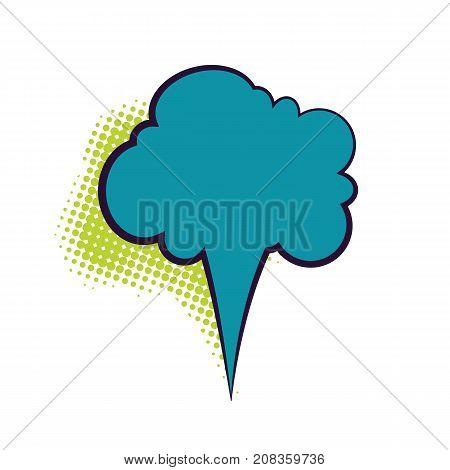 Comics book dialog empty cloud, space cartoon box pop-art. Outline blue picture template memphis style text speech bubble halftone dot background. Creative idea conversation sketch explosion balloon