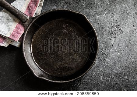 Cast Iron Pan On Black