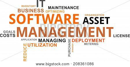 A word cloud of software asset management related items
