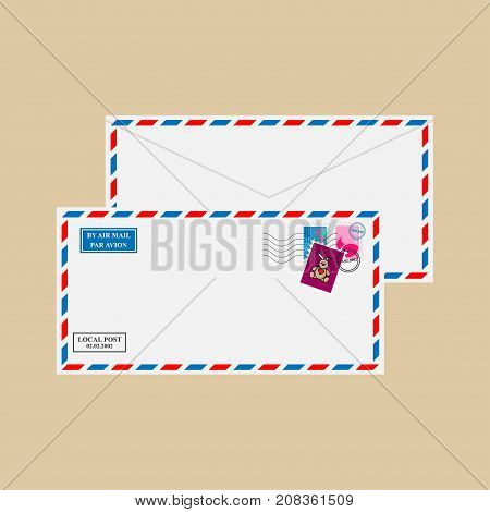 Air mail envelope with stamps and postmarks
