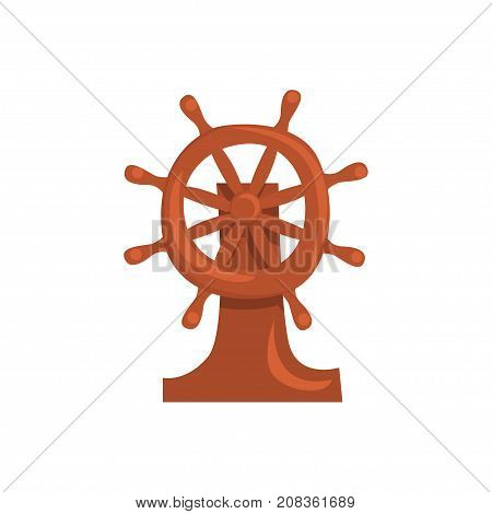 Wooden steering wheel of a ship cartoon vector Illustration isolated on a white background