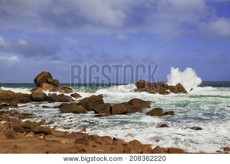 The Pink Granite coast at Ploumanach, Brittany, France