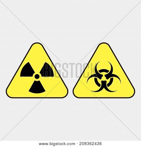 Biohazard warning icon on a grey background. Vector illustration.