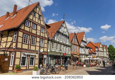 CELLE, GERMANY - MAY 21, 2017: Shopping street in the historic center of Celle, Germany