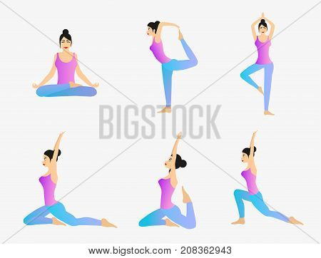 Woman is practicing yoga movements. Vector set of different yoga exercises.