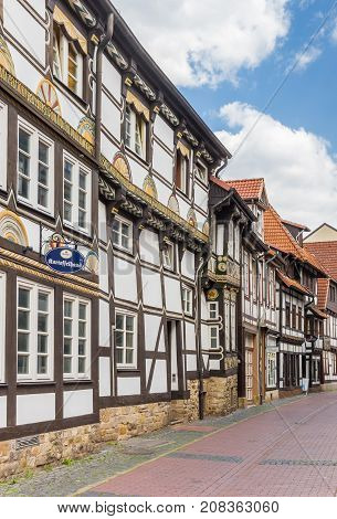 HAMELN, GERMANY - MAY 22, 2017: Historic half-timbered house in the center of Hameln, Germany