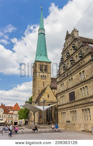 HAMELN, GERMANY - MAY 22, 2017: Market church St. Nicolai in the historic center of Hameln, Germany