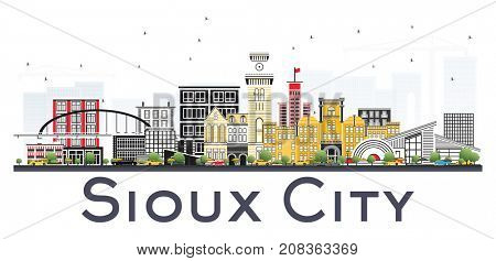 Sioux City Iowa Skyline with Color Buildings Isolated on White Background. Business Travel and Tourism Illustration with Historic Architecture.