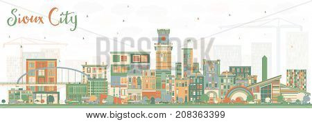 Sioux City Iowa Skyline with Color Buildings. Business Travel and Tourism Illustration with Historic Architecture.