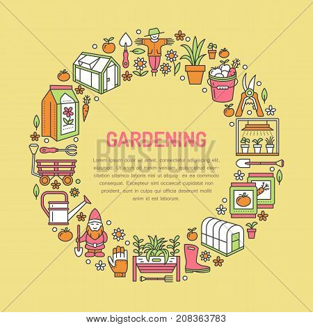 Gardening, planting and horticulture banner with vector line icon. Garden equipment, organic seeds, green house, pruners watering can and other tools. Vegetables, flower cultivation thin linear poster