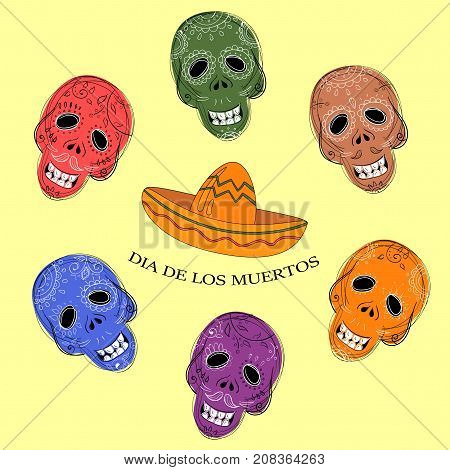 Mexican Dia de los Muertos. Collection of the Day of the Dead sugar skulls calavera in different colours