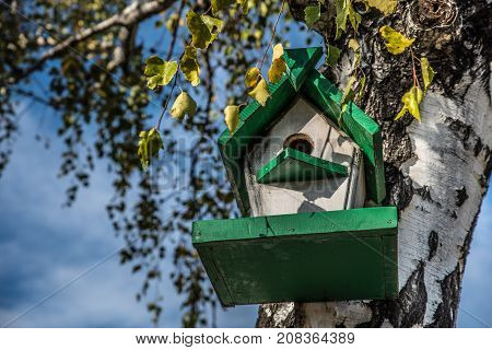 Birdhouse for birds on a tree in the autumn forest. Bird nesting box on tree